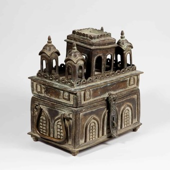 Antique A Whimsical Indian Brass Box as a Temple
