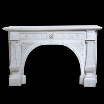 Antique Napoleon III White Marble Chimneypiece