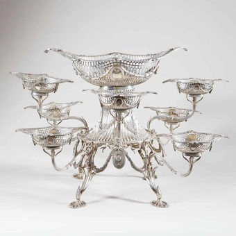 Antique Georgian Style Eight-Basket Silver Epergne