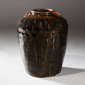Antique A Dark Glazed South China Storage Jar