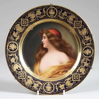 "Antique Porcelain Vienna Cabinet Plate with Female Portrait ""Gitana"""