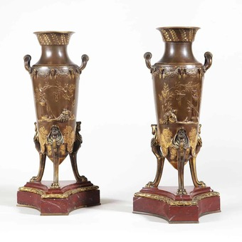 Antique Pair of Bronze Vases on Rouge Griotte Marble Bases