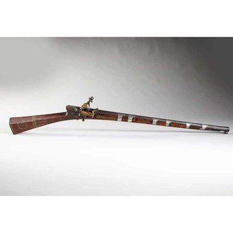 Antique Rare Ottoman Shishana Flintlock Rifle With Tiger Walnut Stock