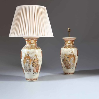Antique Pair of Japanese Satsuma vases as Table Lamps