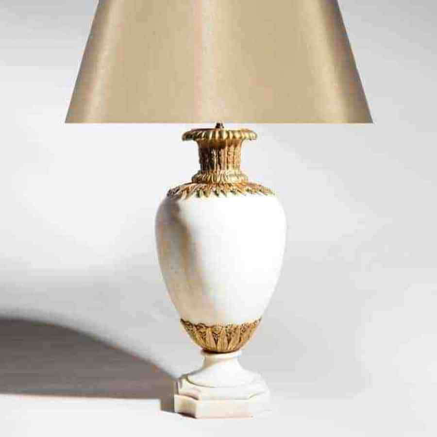 White Statuary Marble Baluster Lamp With Gold Mounts