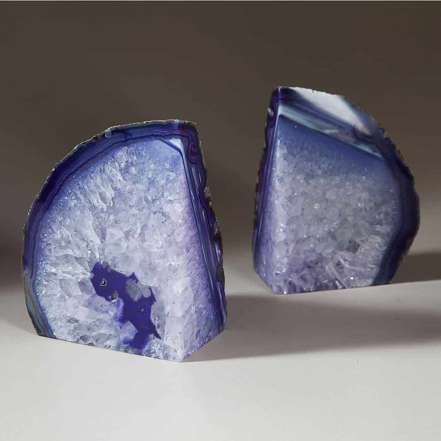 Pair Of Blue Polished Agate Stone Bookends