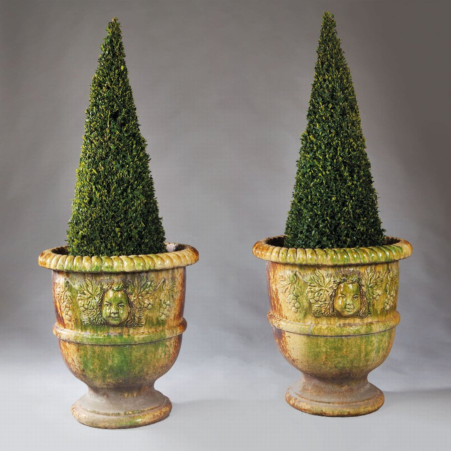 Two Pairs Of Italian Large Glazed Terracotta Garden Pots