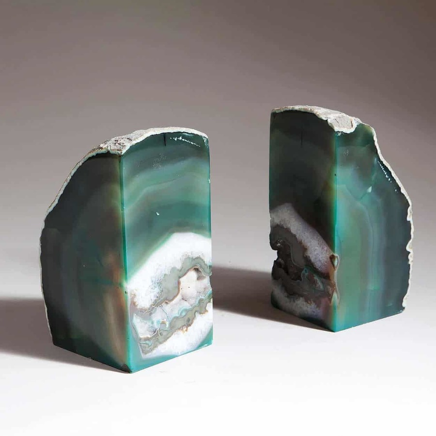 Pair Of Green Agate Bookends