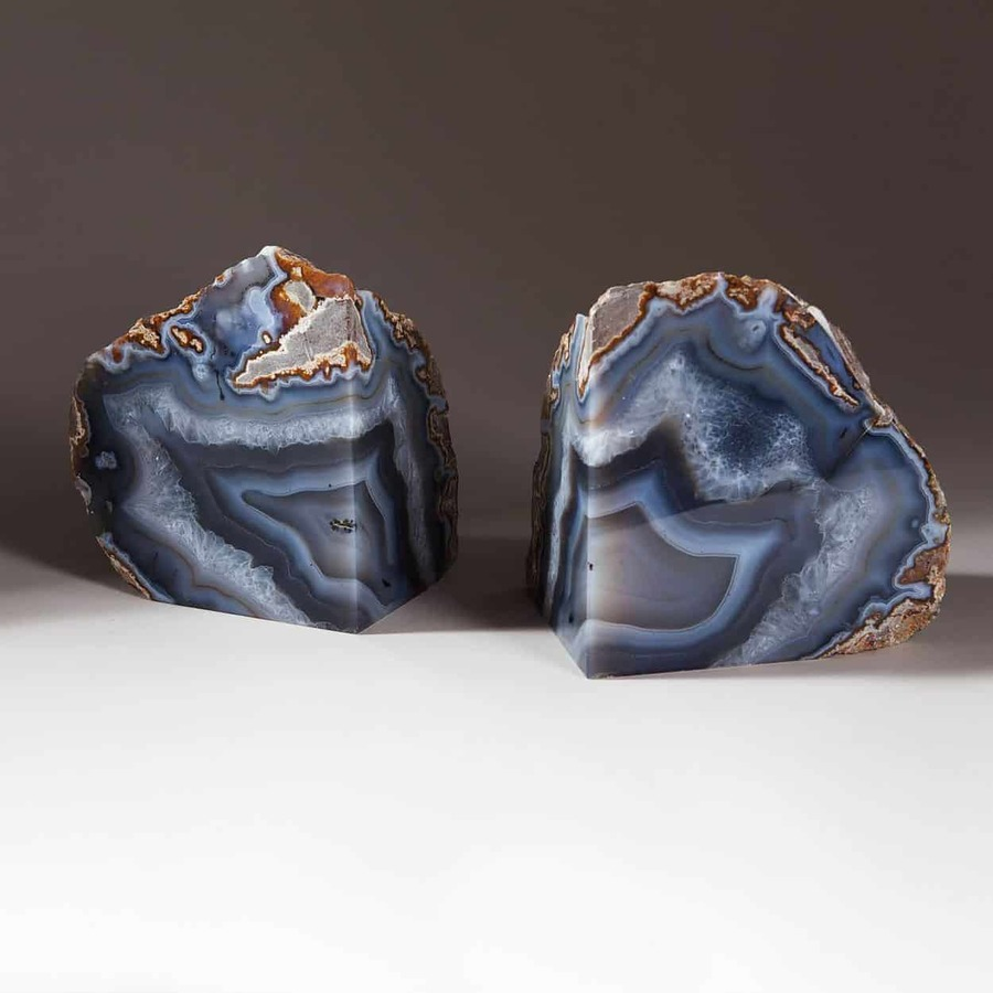 Natural Polished Agate Stone Bookends