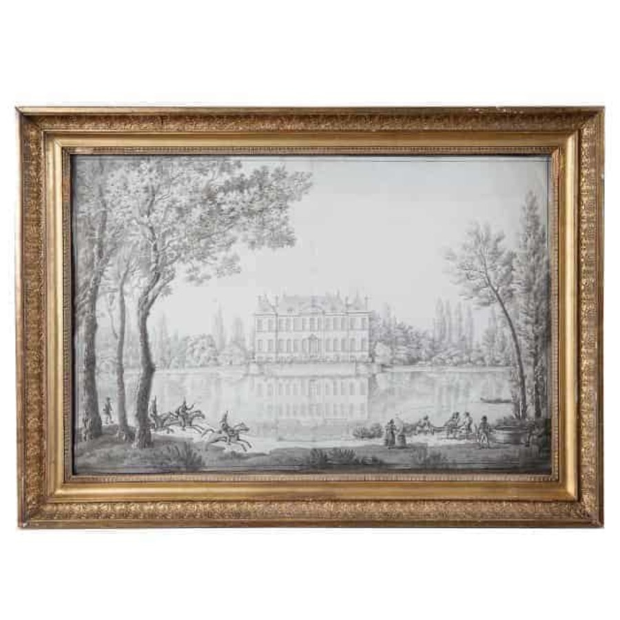 18th Century French Pencil Drawing Of A Chateau In A Landscape