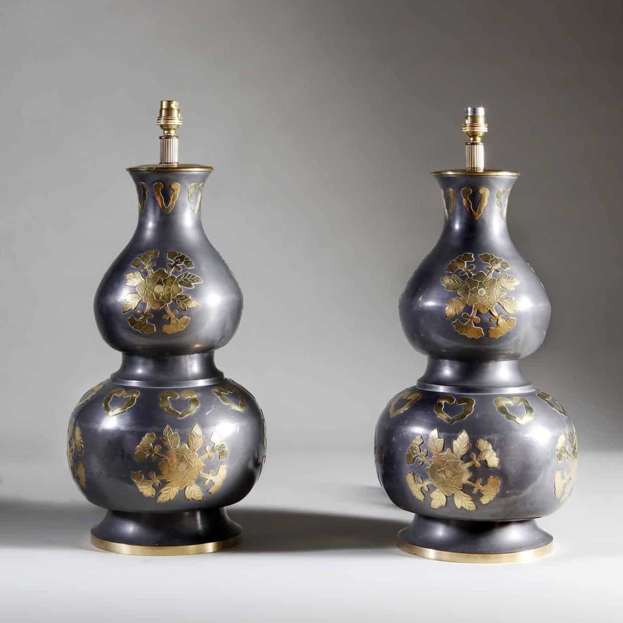 A Pair of Double Gourd Chinese Pewter and Brass Vases as Lamps