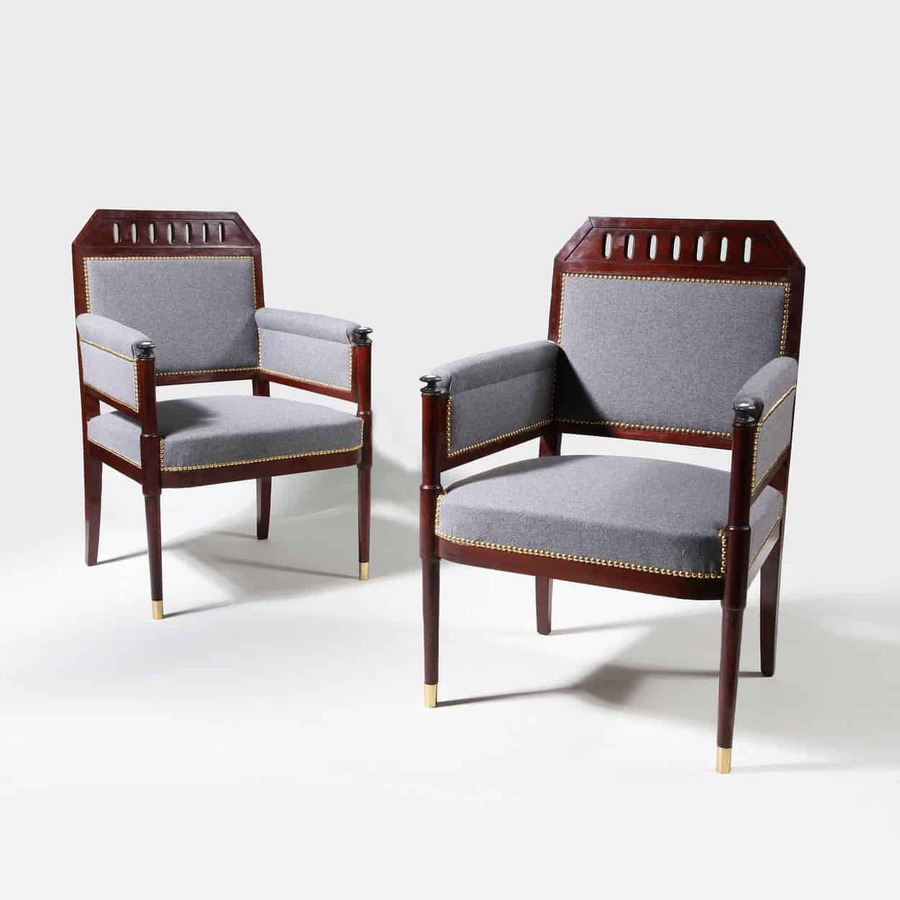 A Pair of Early 19th Century Mahogany Bergeres Armchairs