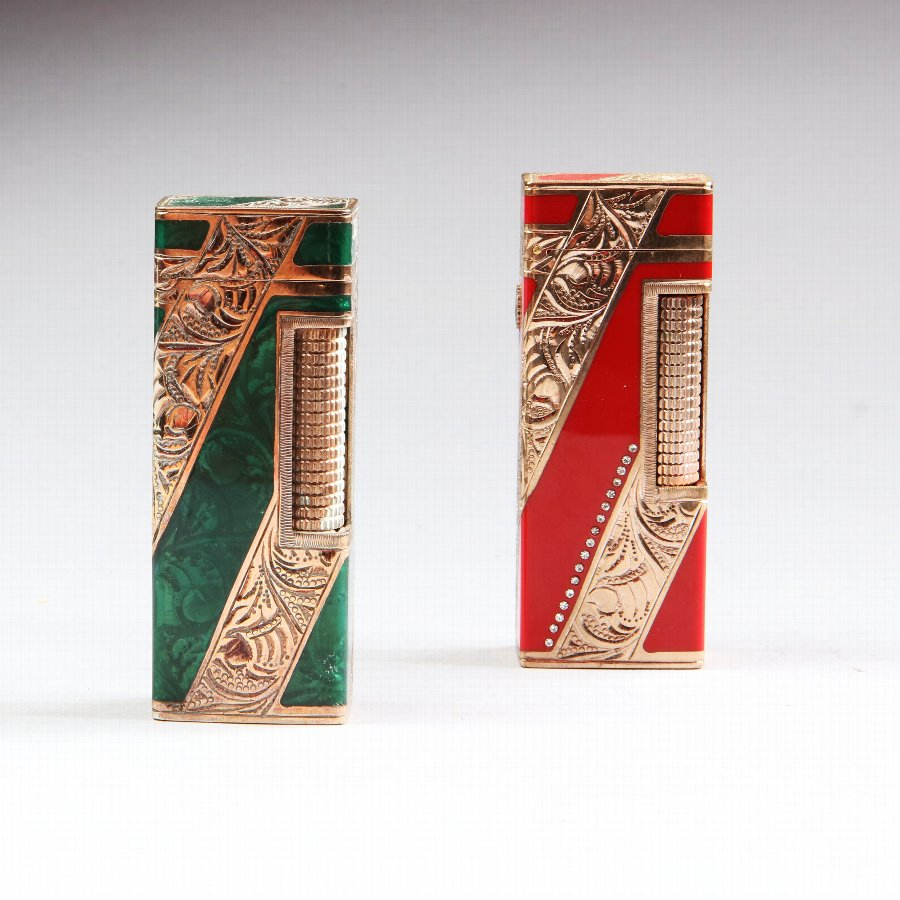 Solid Gold Jacket Dunhill Rollagas Lighters Red & Green