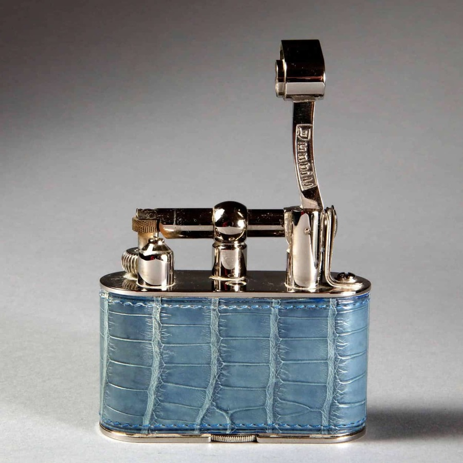 Dunhill Chrome Half Giant in Blue Crocodile Skin