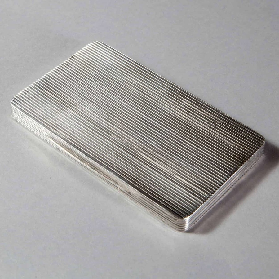 Dunhill Ribbed Silver Plate Cigarette Case