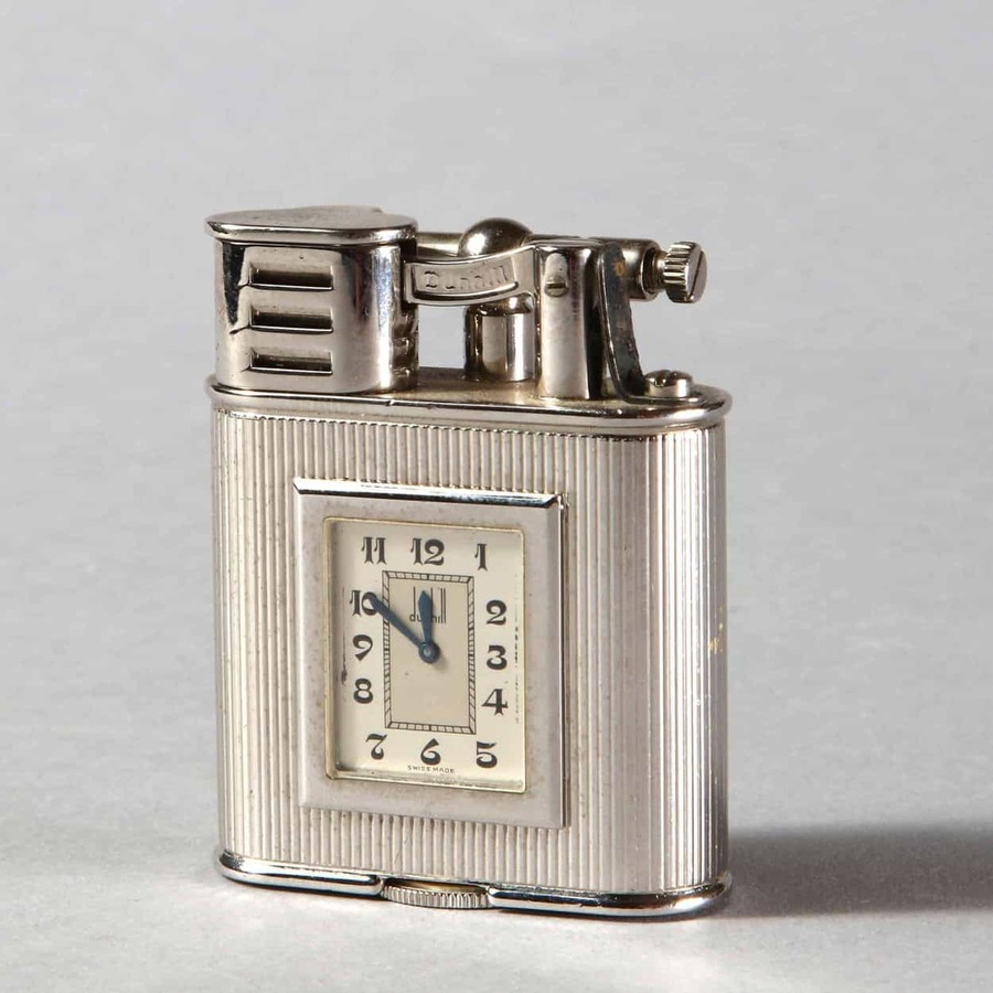 Dunhill Platinum Plated 'Unique 'A' Sports' Pocket Lighter with Watch