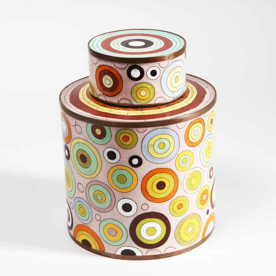 Fabienne Jouvin 1980's Cloisonne Cylindrical Jar and Cover
