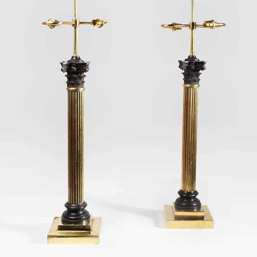 A Pair of Large Scale Column Lamps