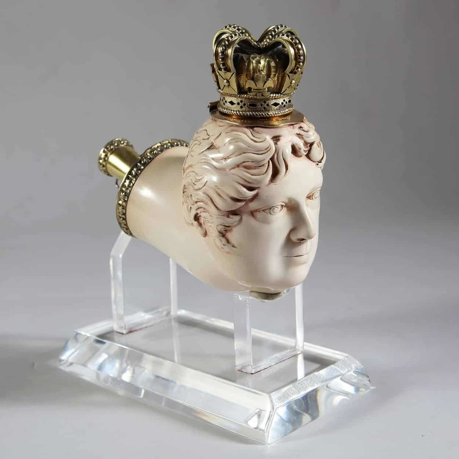 King George IV Silver Gilt Meerschaum Pipe Modelled as King George IV, London 1823