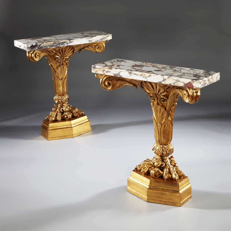 A Pair of Antique Neo Classical Giltwood Console Tables