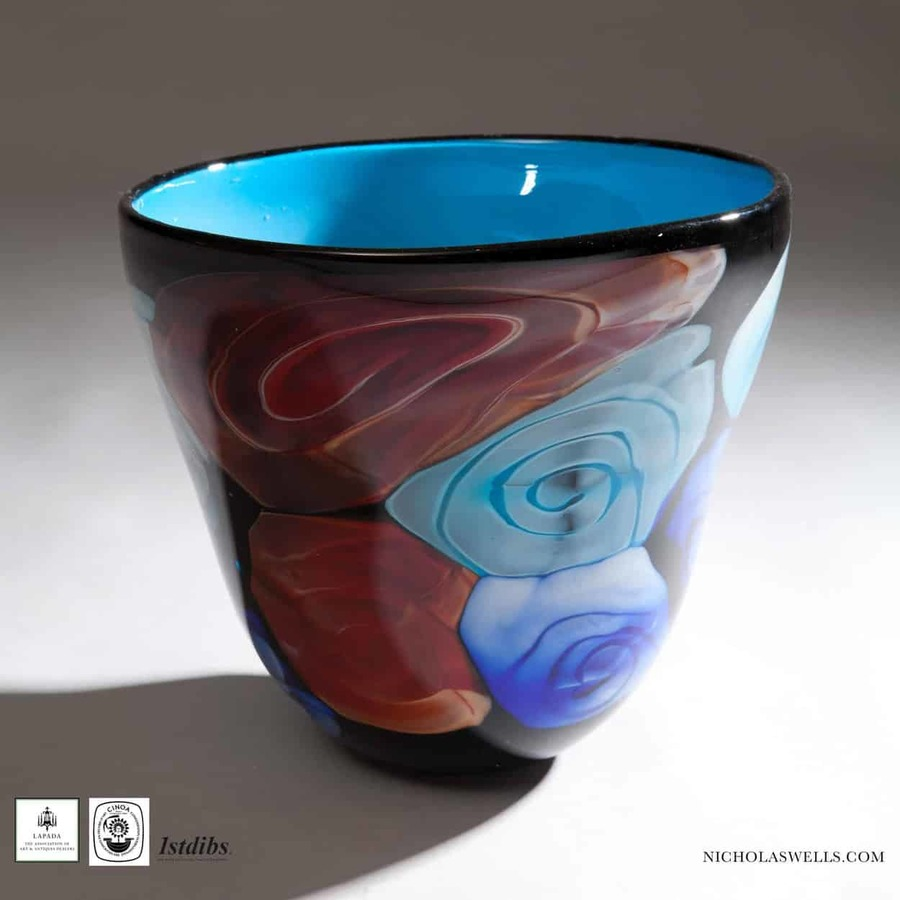Murano Art Glass Vase With Blue And Blobs Of Colour