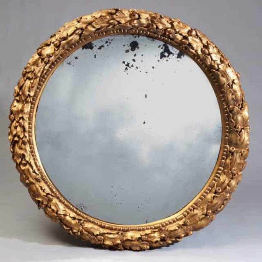 56 Inch 19Th Century Gilt Convex Mirror