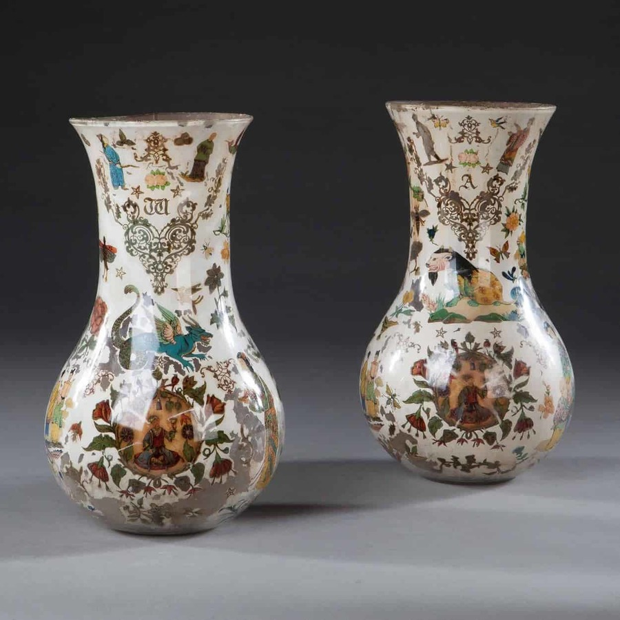Pair Of Decalcomania Glass Vases