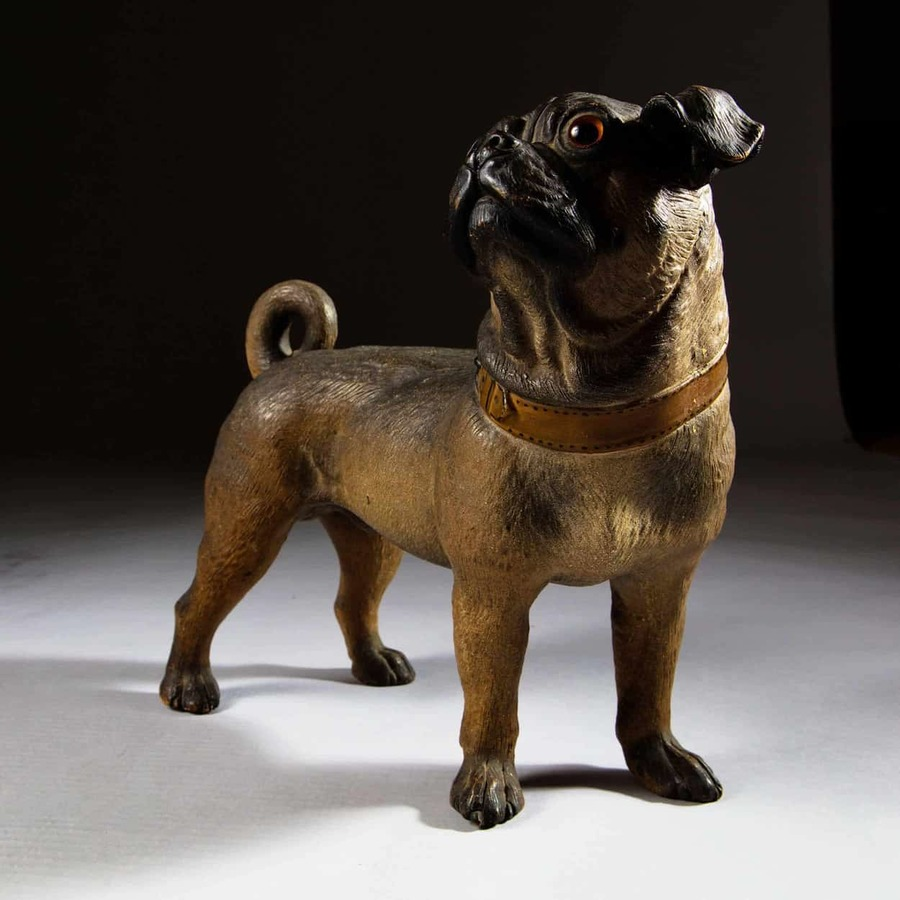Terracotta Cold Painted Austrian Standing Pug Dog