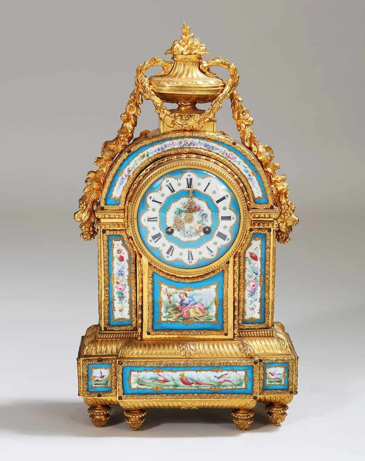 A Fine Sevres Porcelain Blue Celeste and Ormolu Mounted Mantel Clock