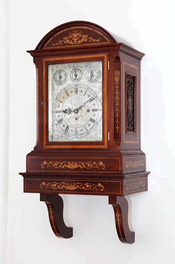 Marquetry Bracket Clock With Engraved Face
