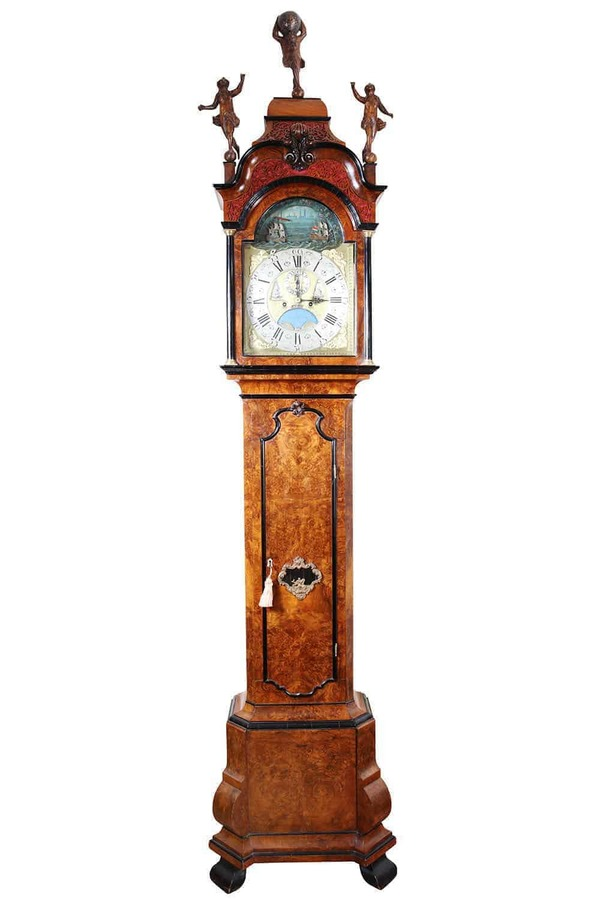 Important Dutch Longcase scheepjes mechaniek clock by  Pietre & Jan Morjin