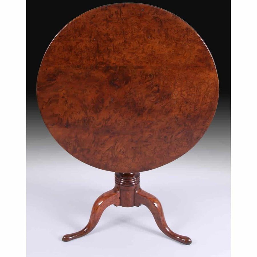 Welsh Solid Burr Yew Tilt Top Tripod Table