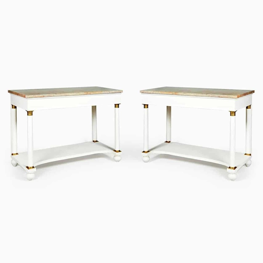 Antique Pair of White Painted Marble Topped Empire Console Tables