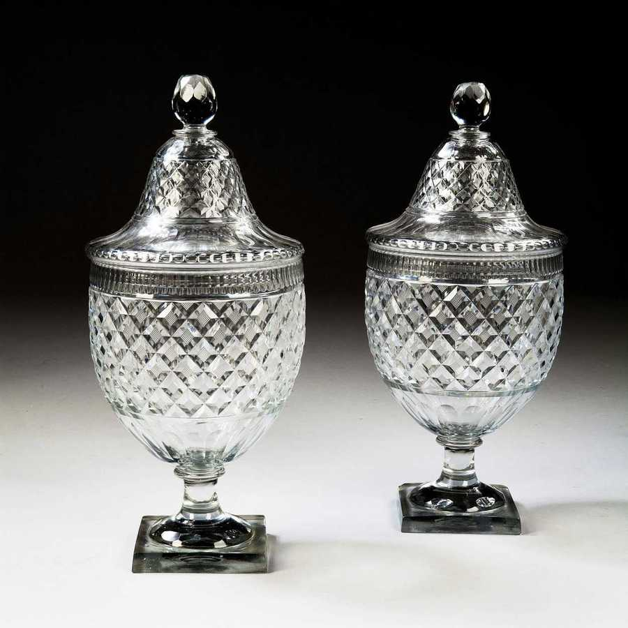 18 Inch Pair Of Voneche Cut Glass Bon-Bonnier - Covered Urns
