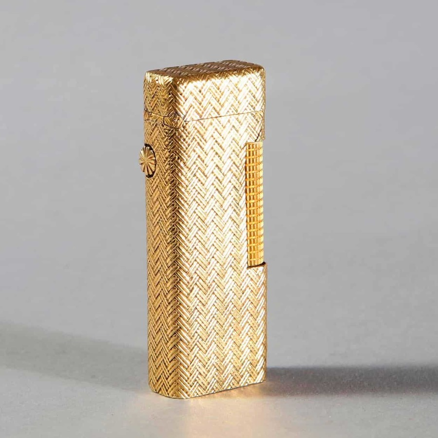 Dunhill Rollagas Lighter - Woven 18k Gold Outer Jacket