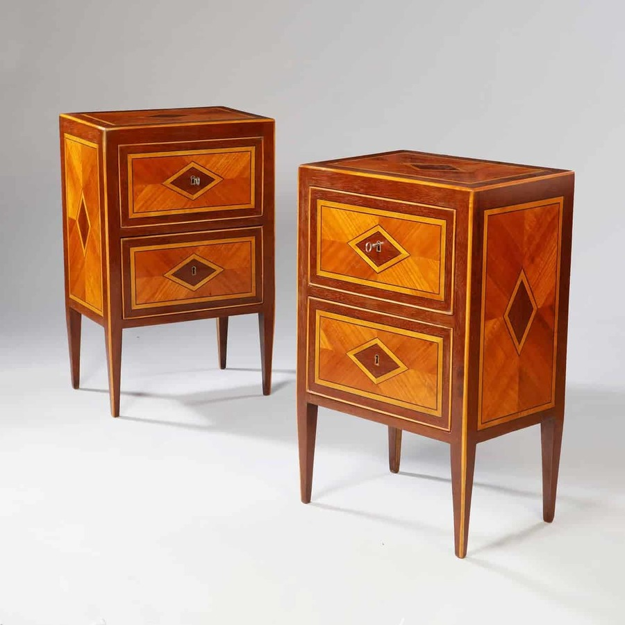 Pair of Italian Parquetry Bedside Cabinets