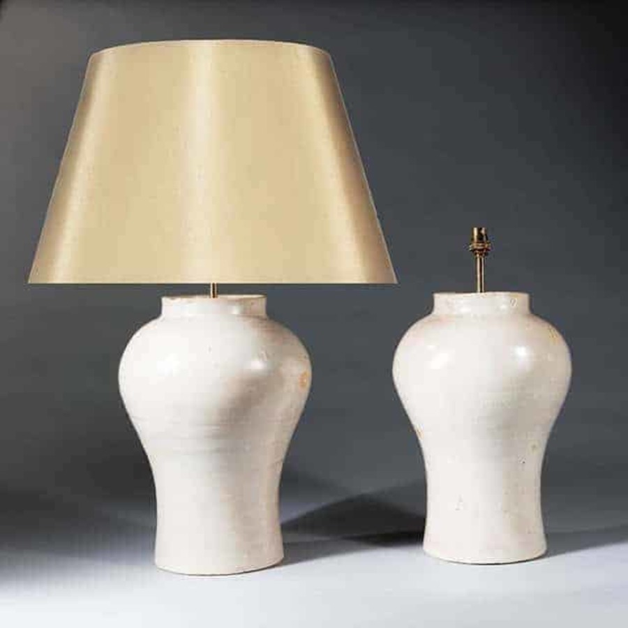 Pair Pink Glazed Pottery Baluster Antique Table Lamps