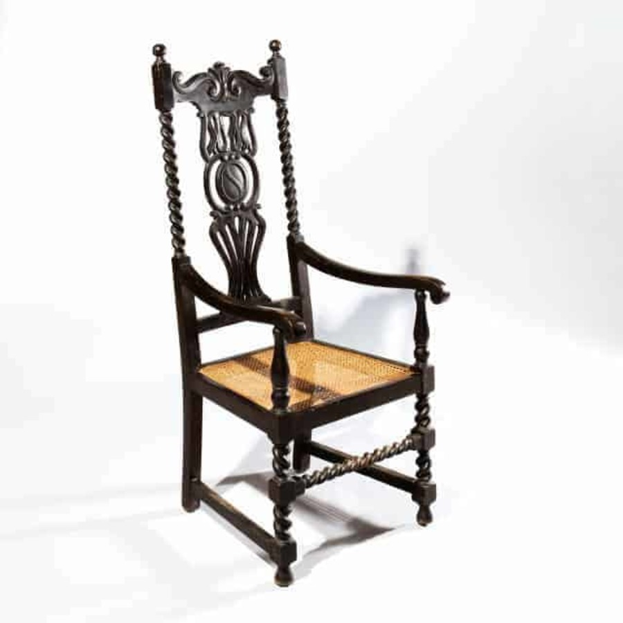 Ebonised Anglo Indian High Back Chair