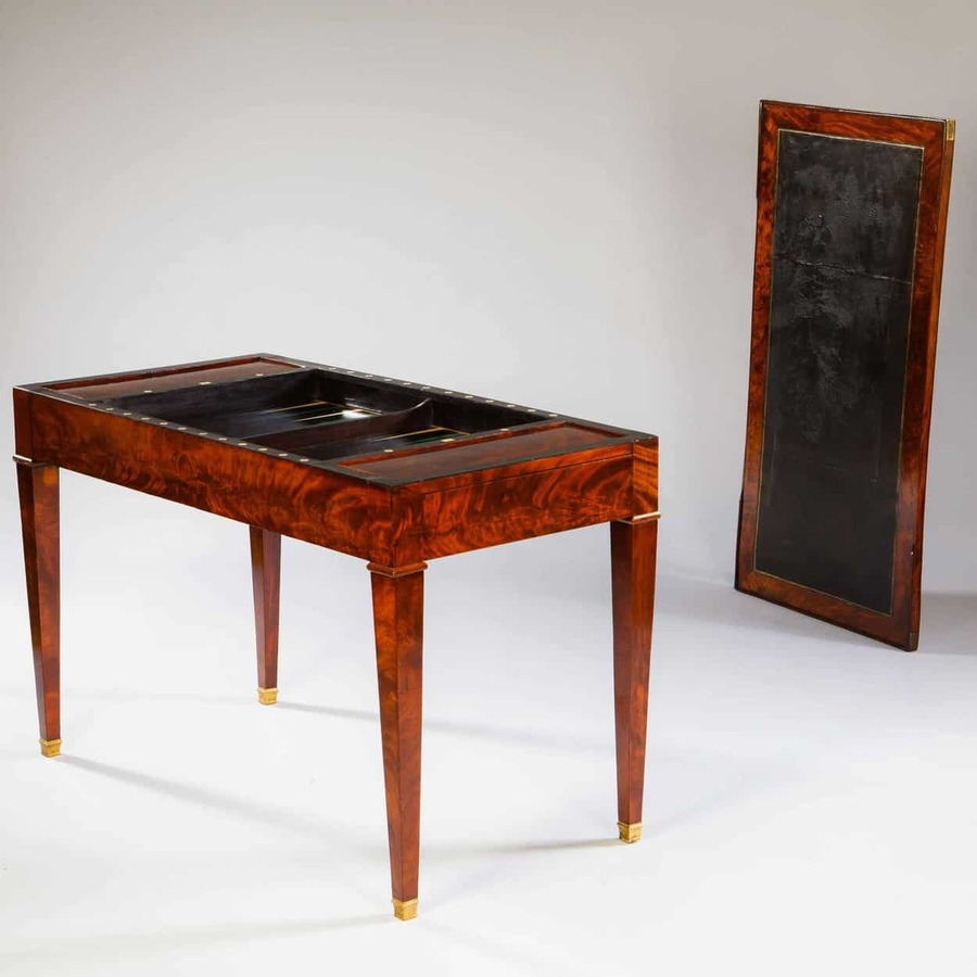 A Fine Directoire Mahogany Tric Trac / Backgammon Table