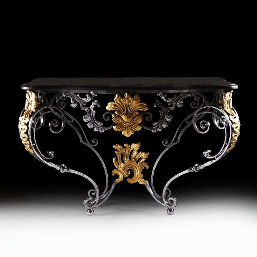 A Louis XV Steel and Gilt Metal Console Table