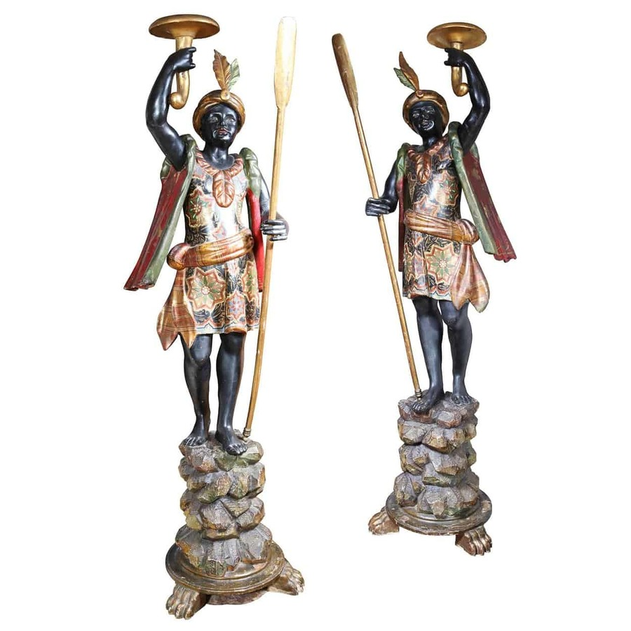 Pair of Parcel Gilt 19th Century Blackamoors