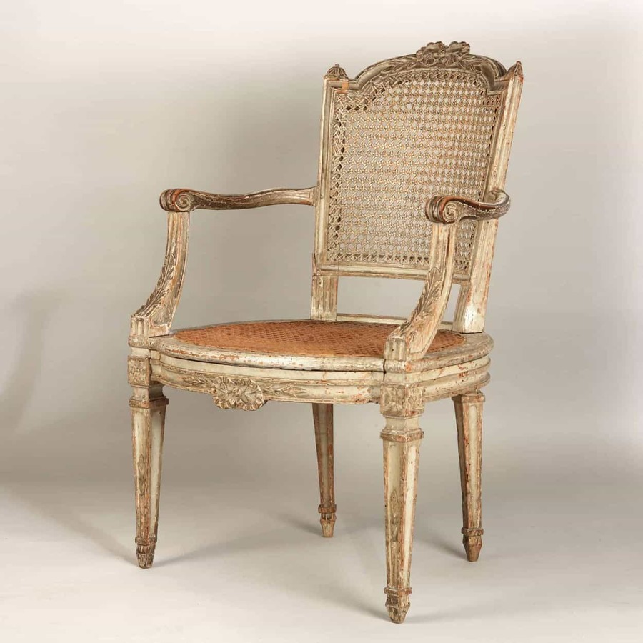 Late 18th Century Louis XVI French Caned Fauteuil