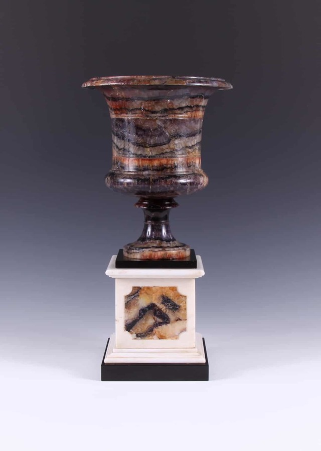Rare George III Blue John Campana Vase On Pedestal, Attributed To James Shore