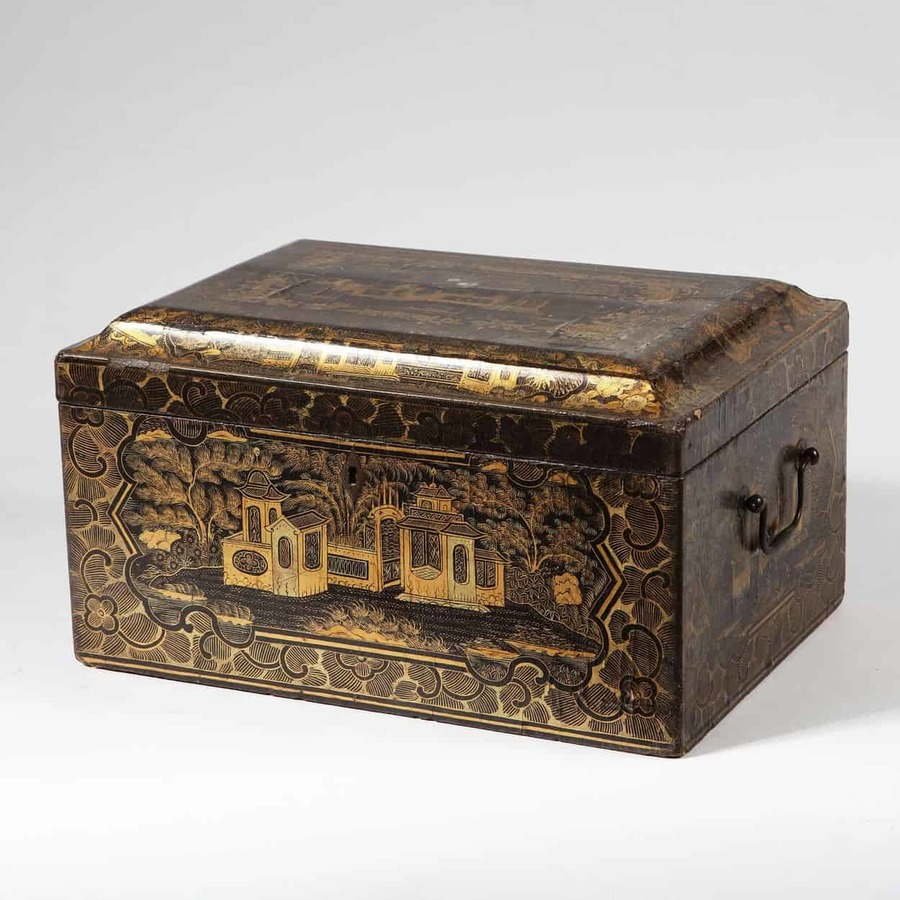 Chinese Export Black Lacquer Work Box