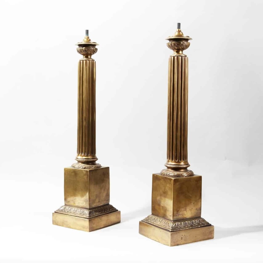 Pair of Patinated Brass Column Table Lamps