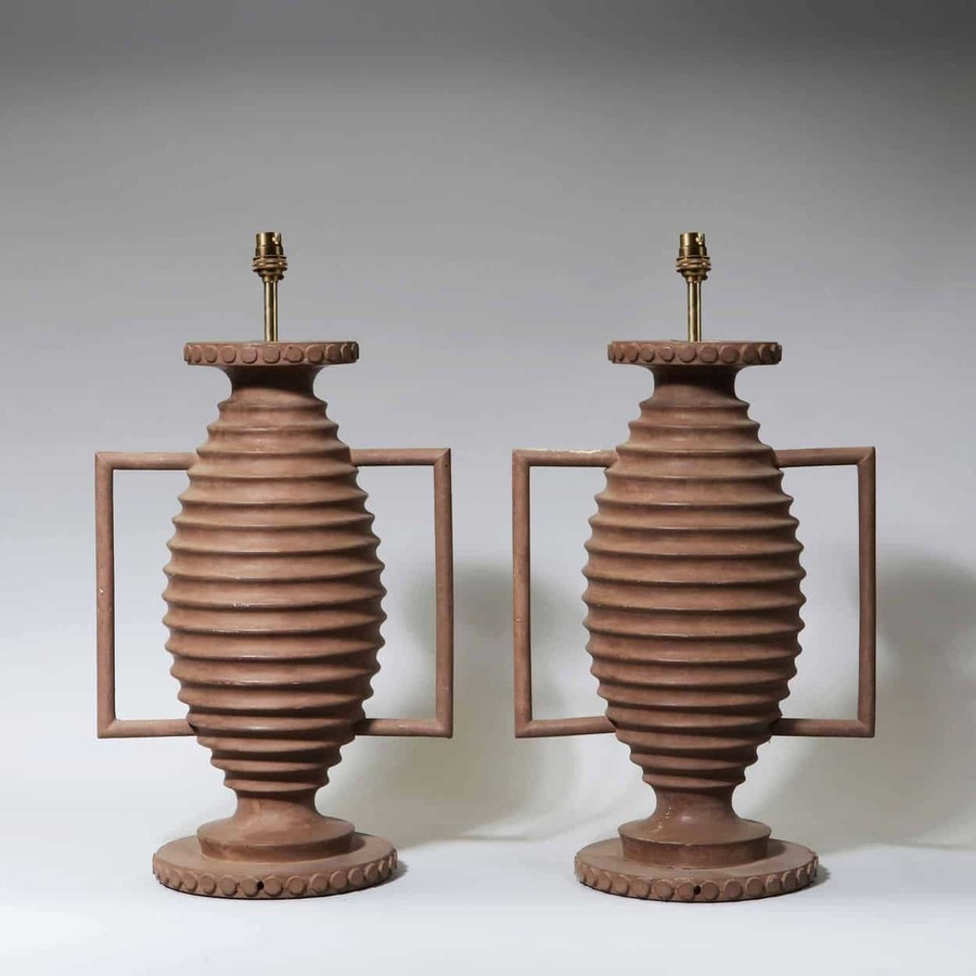 A Pair of Ribbed Baluster Lamps