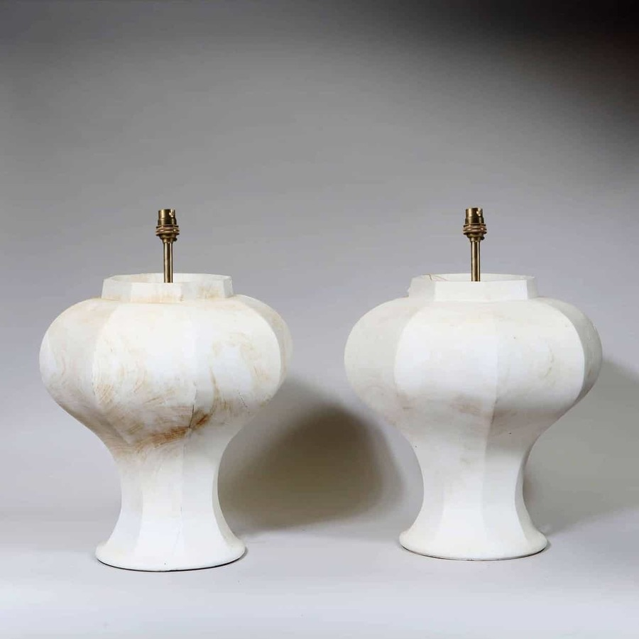A Pair of Octagonal Baluster Ginger Jar Lamps