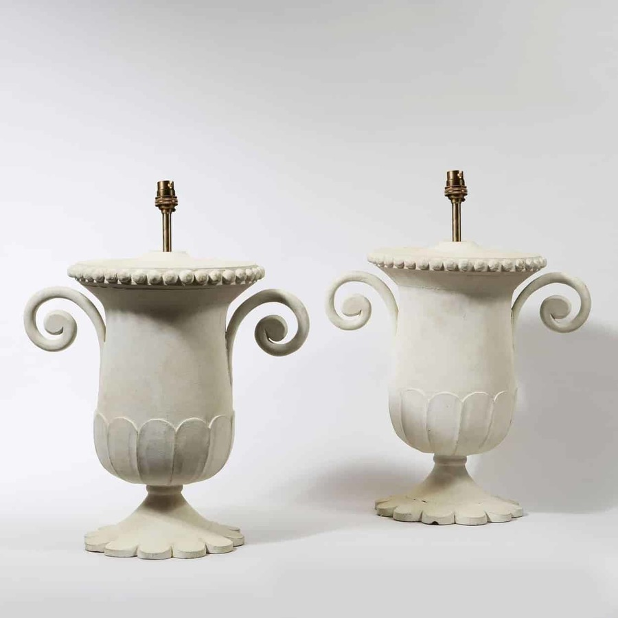 A Pair of Mughal Turned Lamp Bases