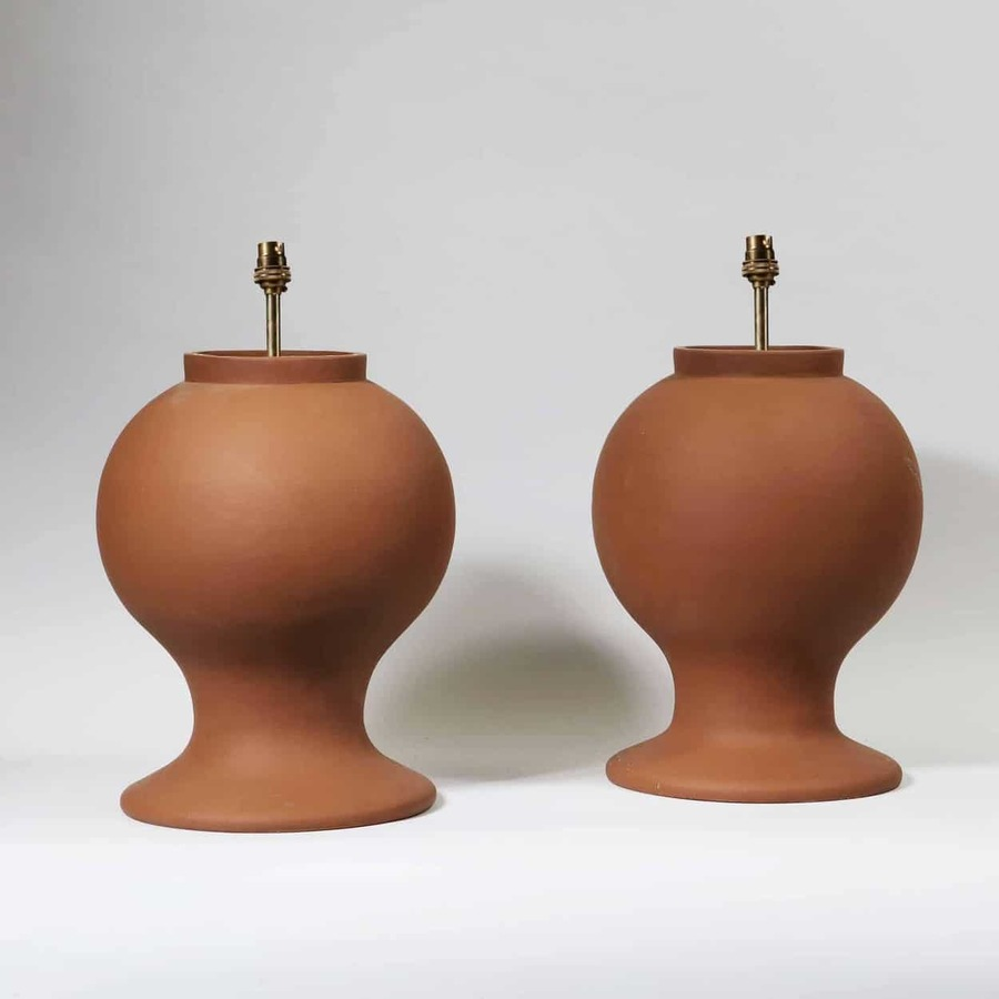 Pair of Turned Wooden Painted Terracotta Baluster Lamp Bases