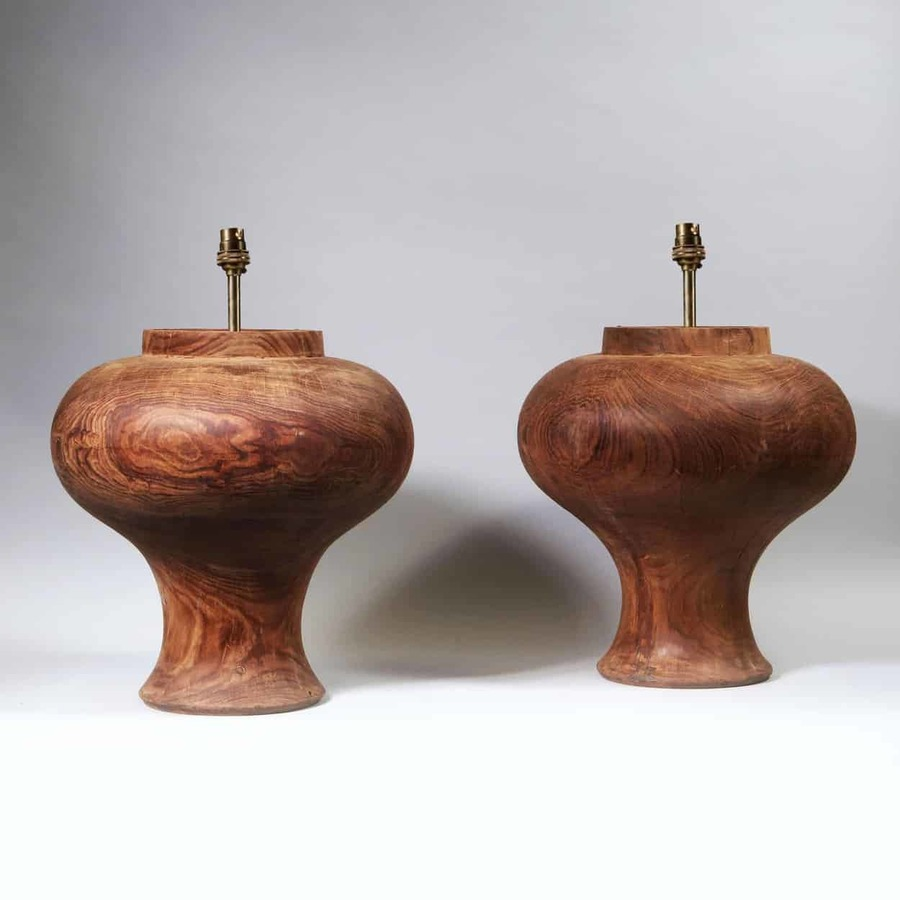 A Pair of Large Scale Wooden Baluster Lamp Bases